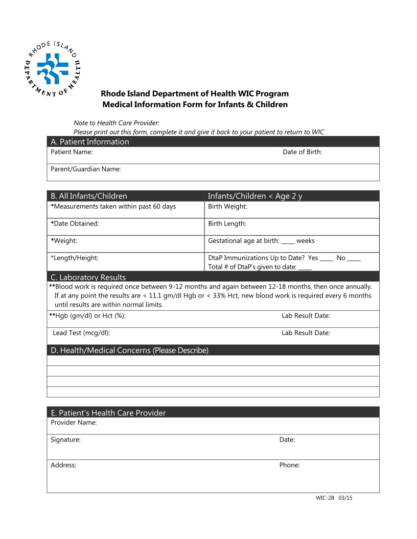 Medical Information Form for Infants/Children