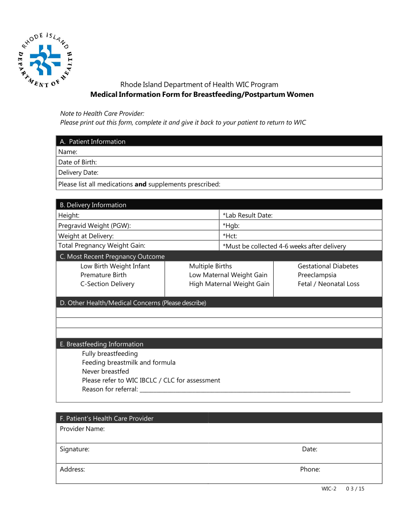 Medical Information Form for Breastfeeding/Postpartum Women