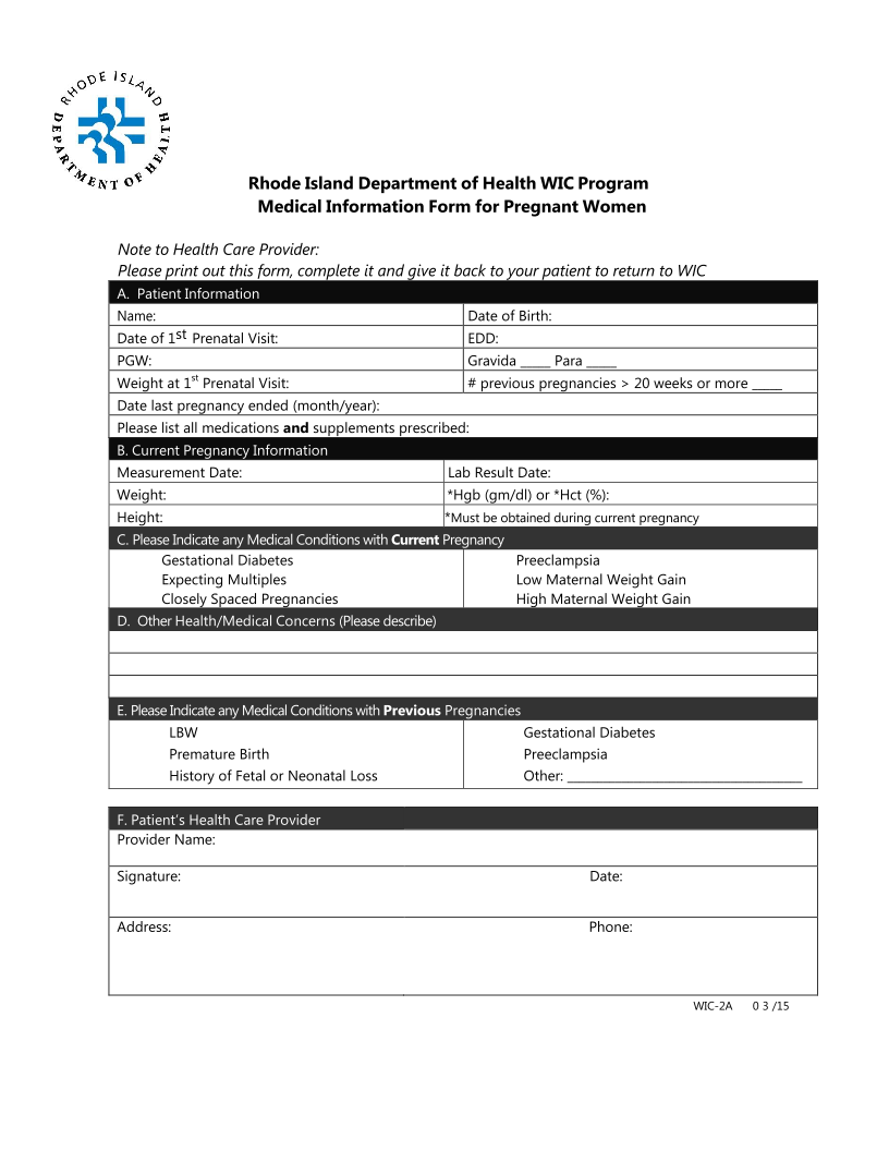 Medical Information Form for Pregnant Women