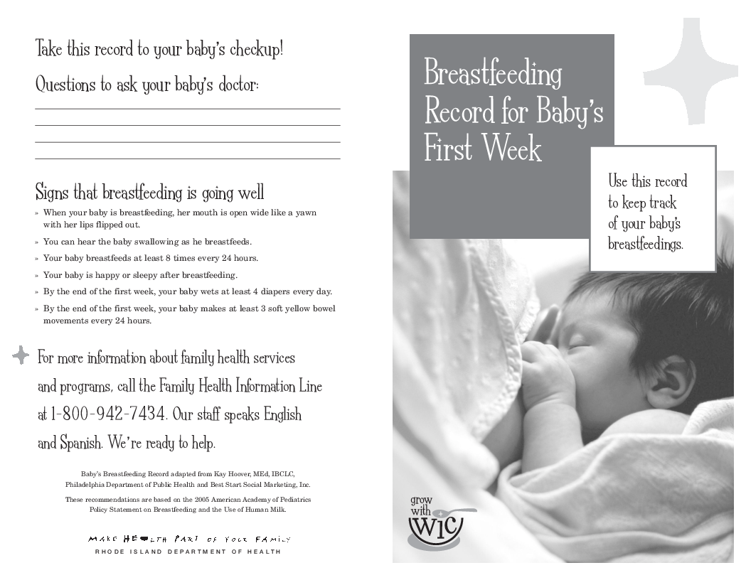 Breastfeeding Record for Babys First Week