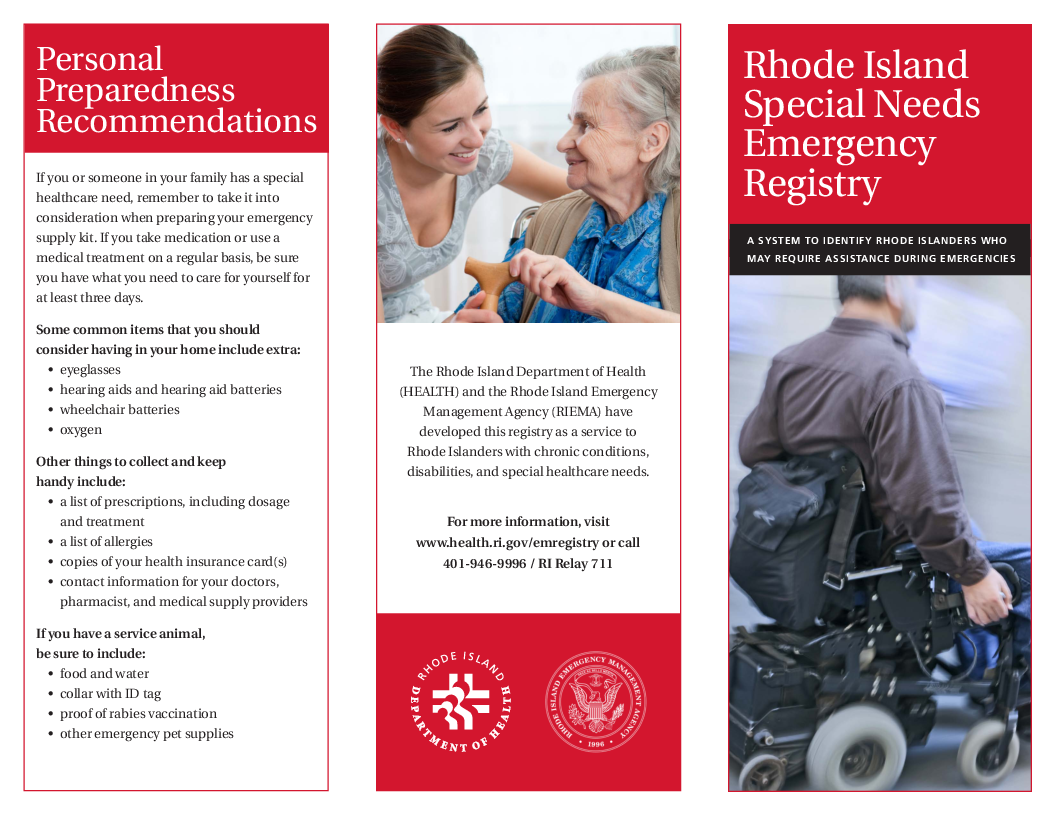 Rhode Island Special Needs Emergency Registry
