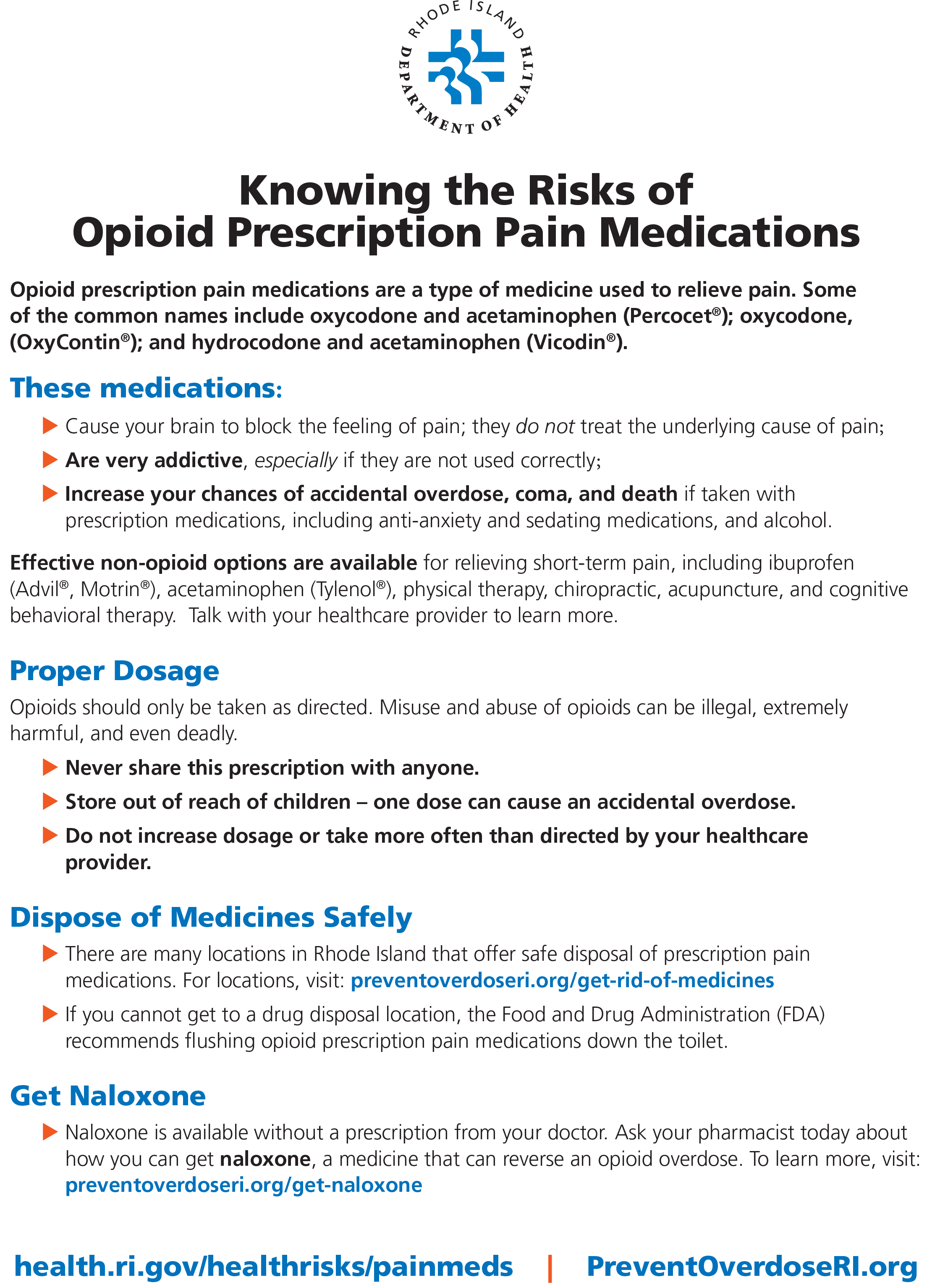 Knowing the Risks of Opioid Prescription Pain Medications 8 1/2 x 11