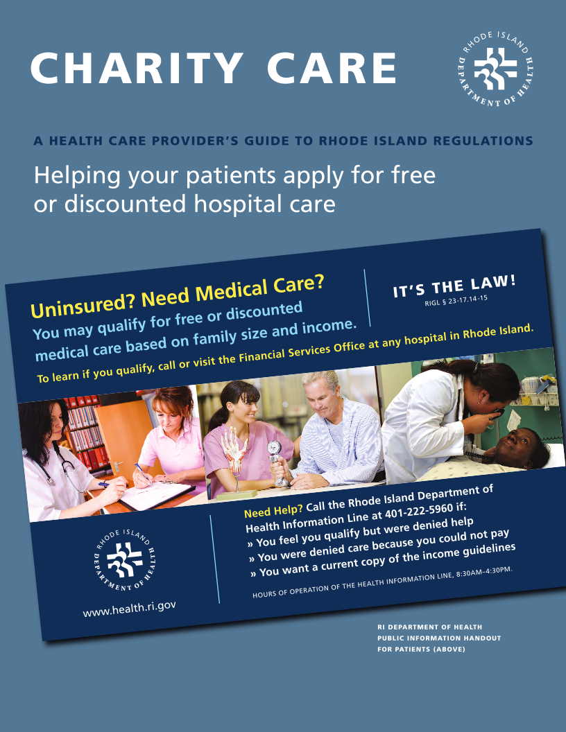 Charity Care - Health Care Providers Guide to RI Regulations