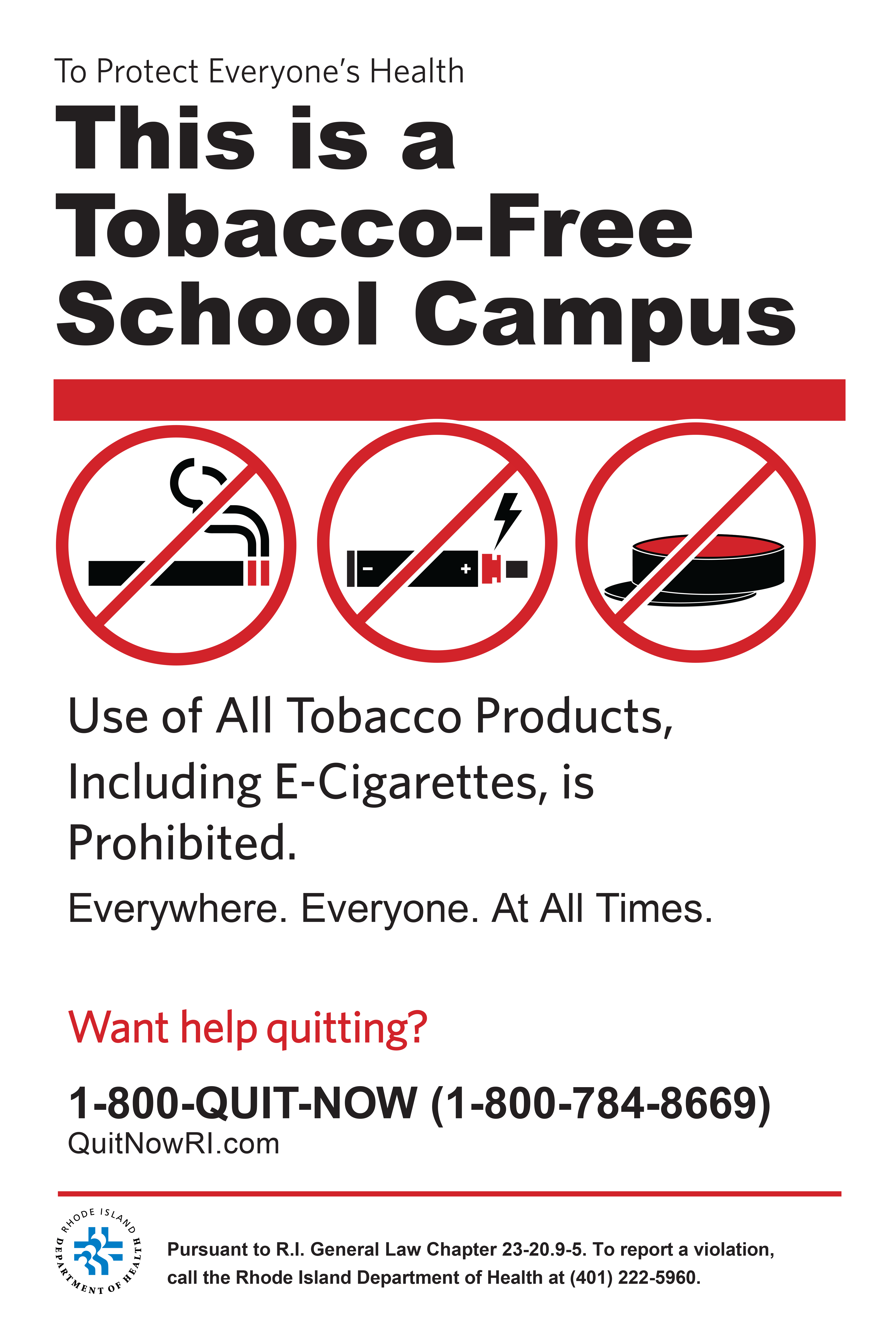 Sign: This Is A Tobacco Free School Campus (updated Jan. 1, 2018)