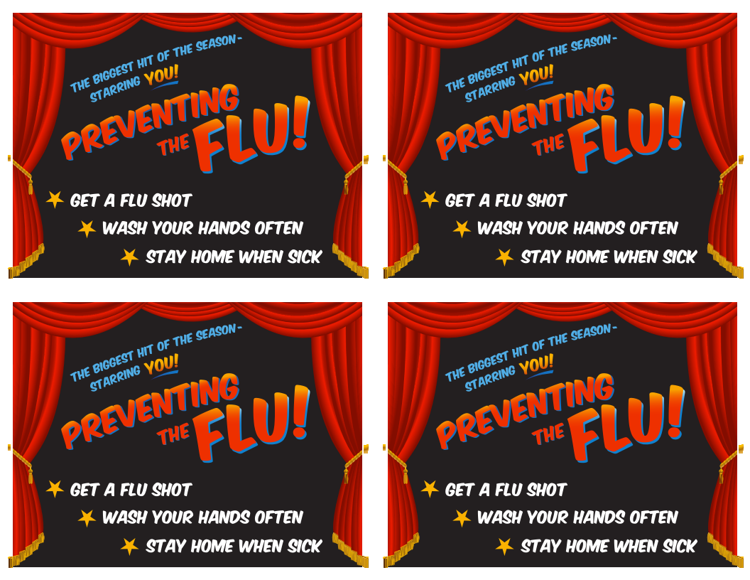Flu vaccination reminder card - Preventing the Flu, Starring You!